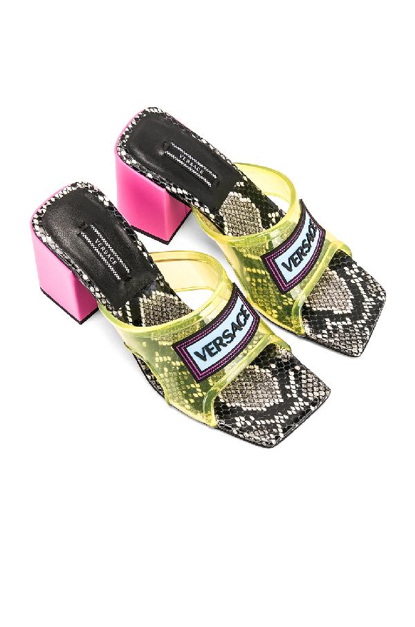 052823ff0871 Versace Women's Dsr966Ldgo9Df2Oh Yellow Polyurethane Sandals In ...