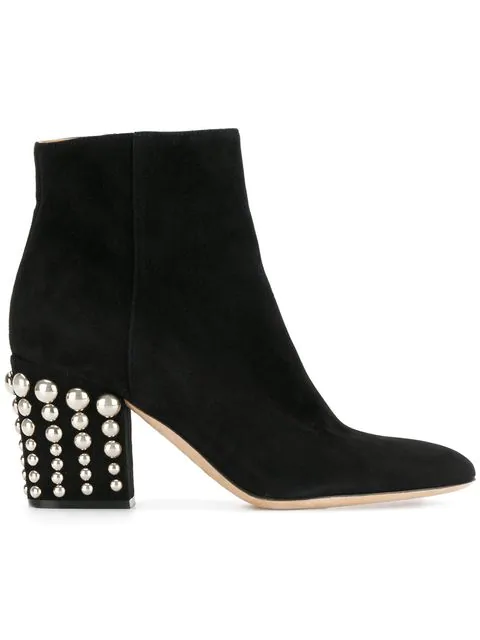 Sergio Rossi Elettra Studded Heel Suede Booties In Black