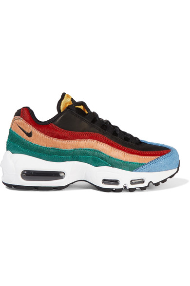 new arrival 2bb00 49101 Nike Air Max 95 Leather And Calf Hair Sneakers