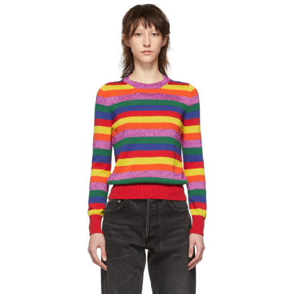 Moncler Striped Lurex And Cotton-knit Jumper In Bright Yellow