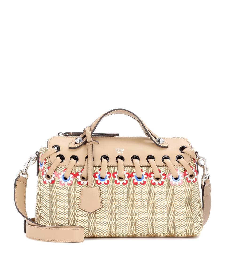 50203f69abb7 Fendi By The Way Small Floral Straw Satchel Bag