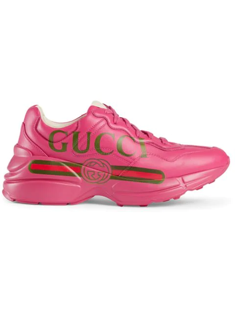 Gucci Rhyton Logo-Print Leather Sneakers In 5752 Fucsia
