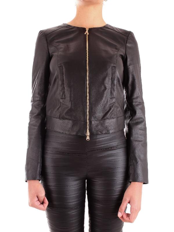 c8ecf89a69f Patrizia Pepe Women's 8L0318A1Hzk103 Black Leather Outerwear Jacket ...