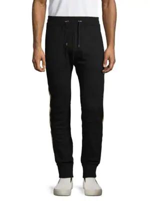 Balmain Embellished Wool Blend Jogger Pants In Black