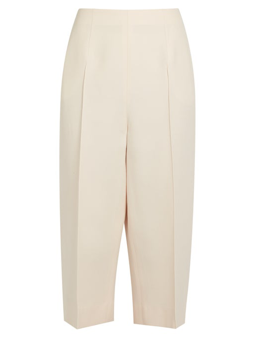 Valentino Crepe Couture Cropped Wide-Leg Pants, Ivory