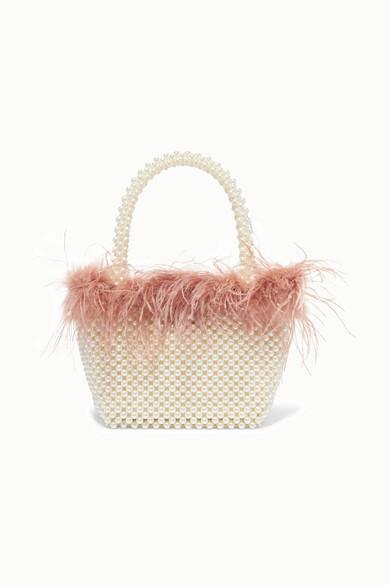 Loeffler Randall Mina Mini Beaded Tote Bag With Feather Trim In Pearl/Buff Pink