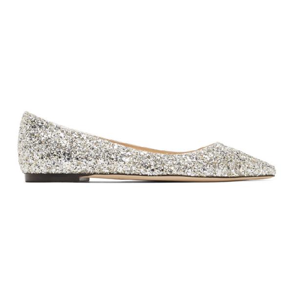 Jimmy Choo Silver Glitter Romy Flats In Oro