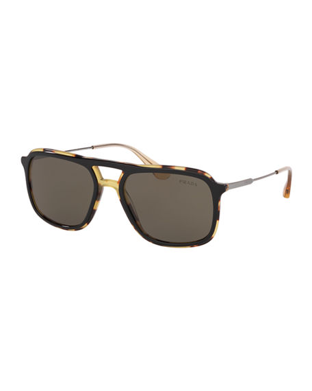Prada Men's Square Retro Acetate Sunglasses In Brown