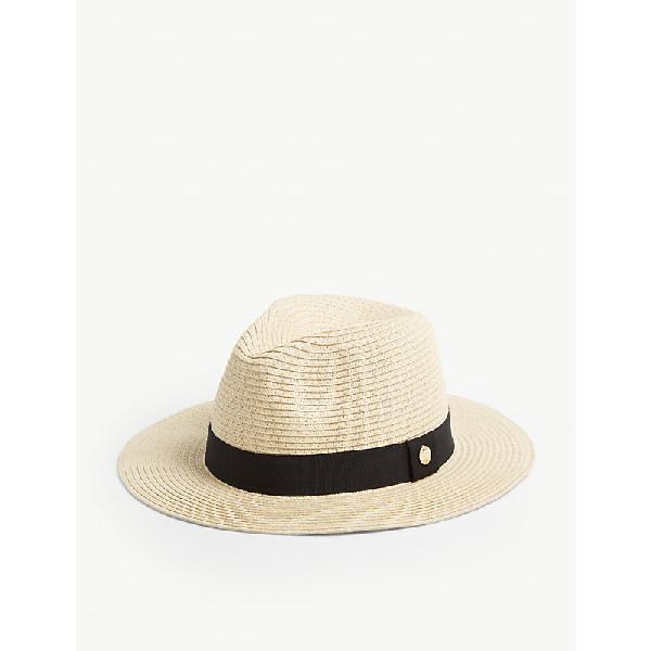 3133be9651b2 Melissa Odabash Wide-Brim Woven Fedora Hat In Beige Black | ModeSens