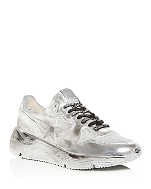 Golden Goose Men's Distressed Leather Low-Top Sneakers In Silver