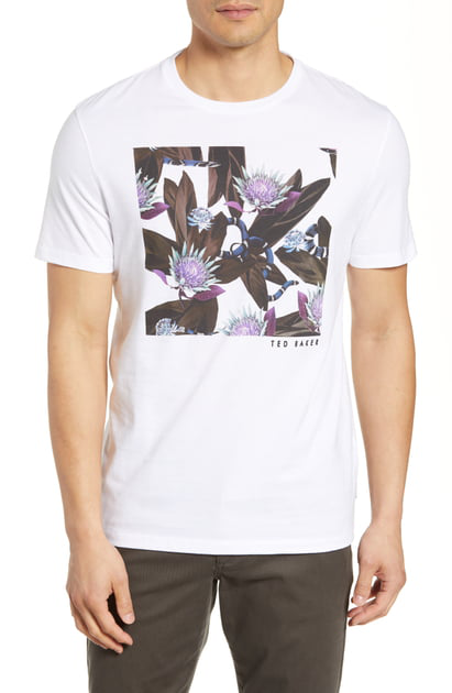 Ted Baker Portion Snake Graphic Crewneck Tee In White