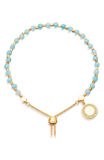 Astley Clarke Cosmos Kula Adjustable Bracelet In 18K Gold-Plated Sterling Silver In Duck Egg Quartz/Yllw Gld