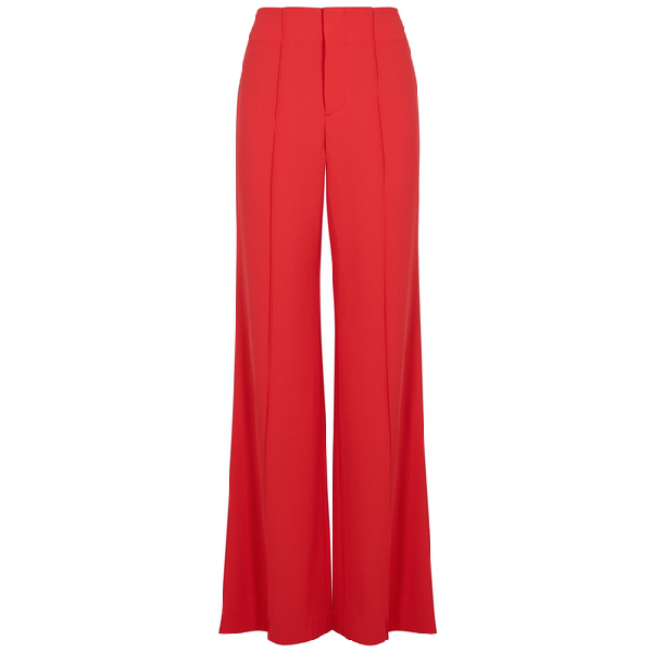 Alice And Olivia Dylan Clean High-Waist Wide-Leg Pants In Bright Poppy
