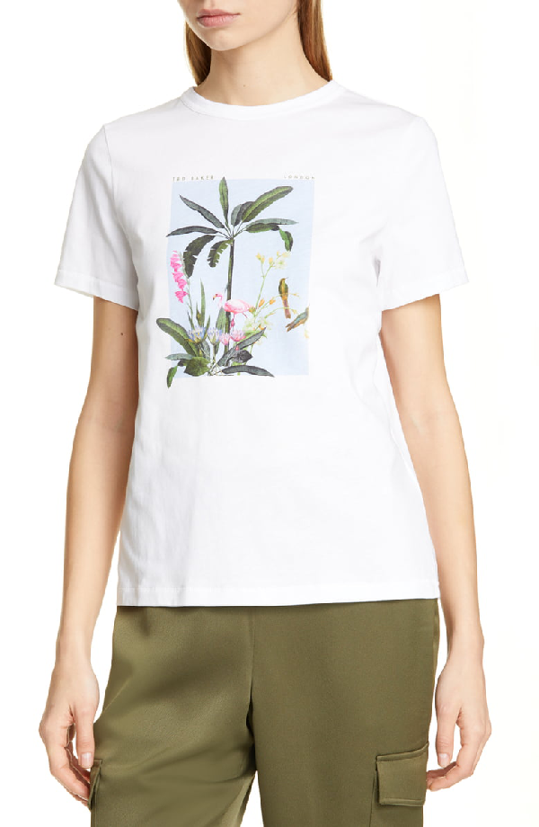 Ted Baker Jacqi Pistachio Tropical-Print Tee In White