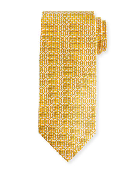 Salvatore Ferragamo Filo 3D Gancio Silk Tie, Yellow
