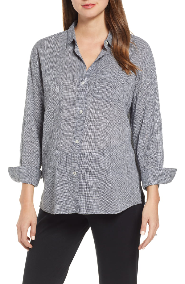 Hatch Boyfriend Shirt In Navy Gingham