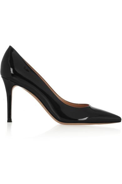 Gianvito Rossi Bari 85 Patent-Leather Court Shoes In Black