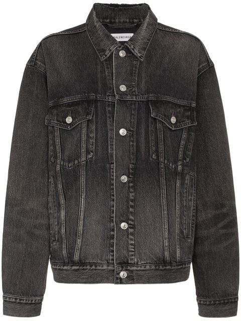 Balenciaga Black Logo Denim Boyfriend Oversize Jacket In 1450 Dirty