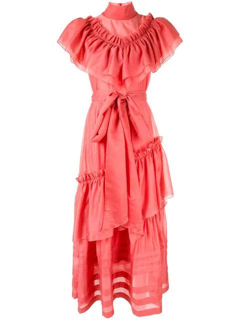 Anna October Ruffle Maxi Dress In Pink