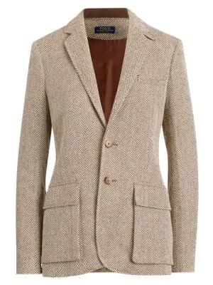 Polo Ralph Lauren Women's Herringbone Single-breasted Blazer In Brown Tan