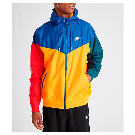 c0cef29748f9a Nike Men's Sportswear Colorblock Windrunner Hooded Jacket, Yellow/Blue