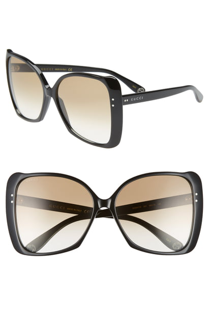 59f333789 Gucci 62Mm Oversize Butterfly Sunglasses - Shny Dk Hav/Gry Grad ...