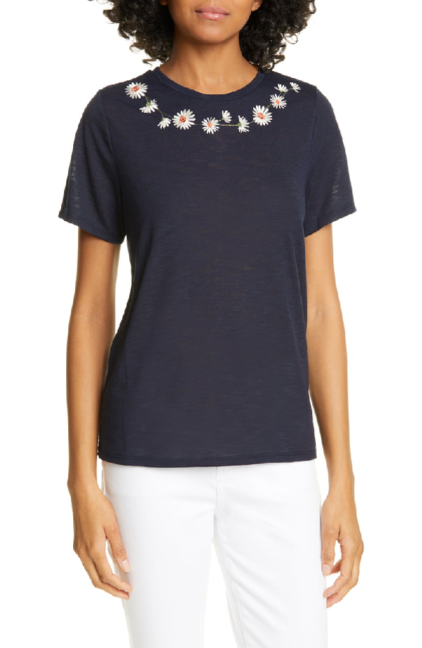 Ted Baker Jalaf Embroidered Daisy Tee In Dark Blue