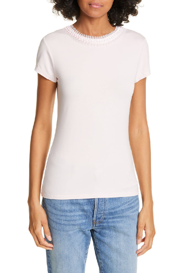 Ted Baker Jacii Embellished Neck Fitted Tee In Nude Pink