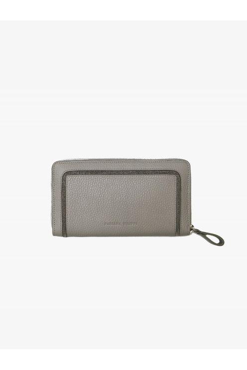 Fabiana Filippi Grey Rhinestone Leather Purse Aa86317
