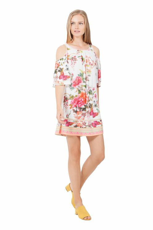 Hale Bob Anci 6477 Floral Jersey Dress - Ivory In White
