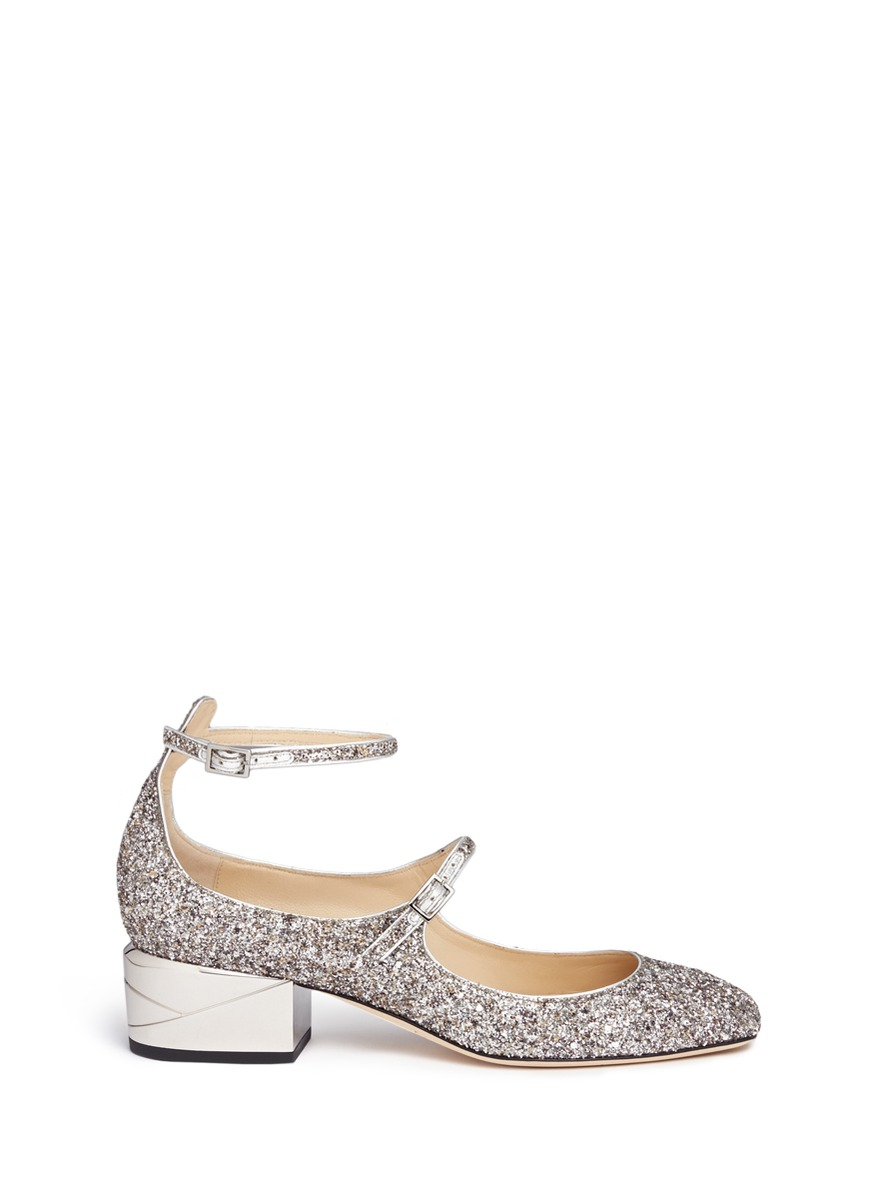 new style los angeles best sell Jimmy Choo 'wilbur 40' Chunky Heel Glitter Mary Jane Pumps | ModeSens