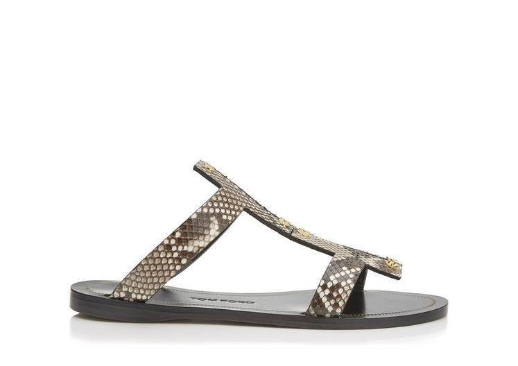 Tom Ford Studded Python Flat Sandal, Gray In Ivory