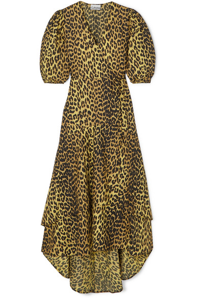 Ganni Bijou Leopard Print Wrap Dress Multi Coloured In Yellow