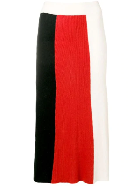 Cashmere In Love Colour Block Knitted Skirt In Black