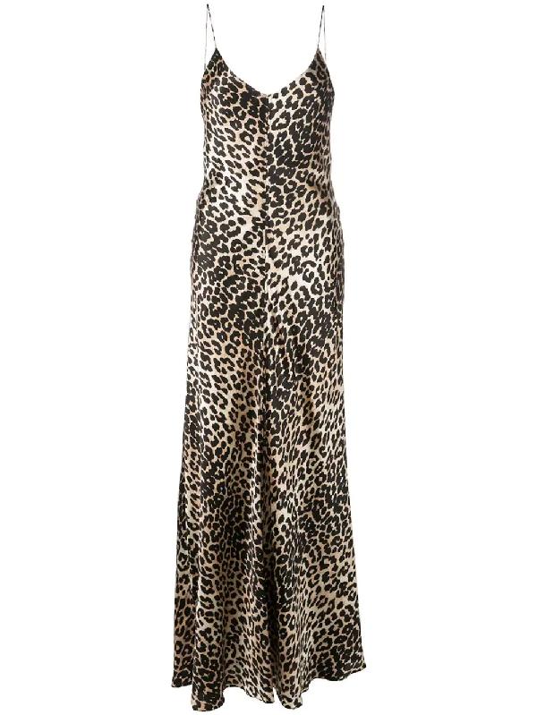 Ganni Blakely Leopard-Print Stretch-Silk Slip Dress In Black