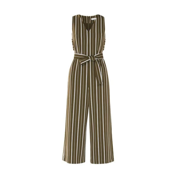 Paisie Striped Jumpsuit With Side Cut Outs (With Self Belt) In Olive Green And White In Green,Pink
