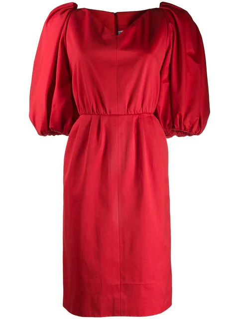 Saint Laurent Balloon Sleeves Dress In Red