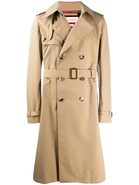 Alexander Mcqueen Harness-Detailed Cotton-Gabardine Trench Coat In 9730 Beige