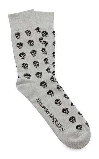 cfdd90b79cf38 Alexander Mcqueen Skull-Print Cotton-Blend Socks In Grey | ModeSens