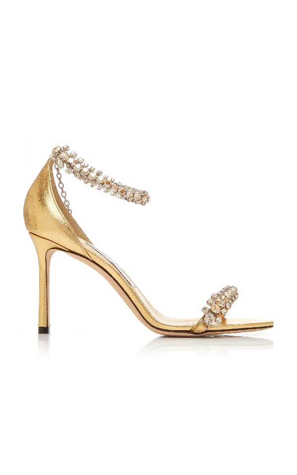 84afec55ebf2 Jimmy Choo Shiloh Crystal-Embellished Metallic Leather Sandals In Gold