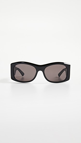 Balenciaga Cover Soft Sunglasses In Black With Grey Solid Lens