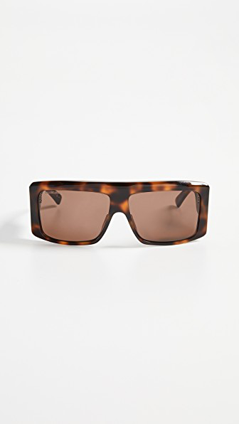 Balenciaga Cover Straight Sunglasses In Havana With Brown Solid Lens