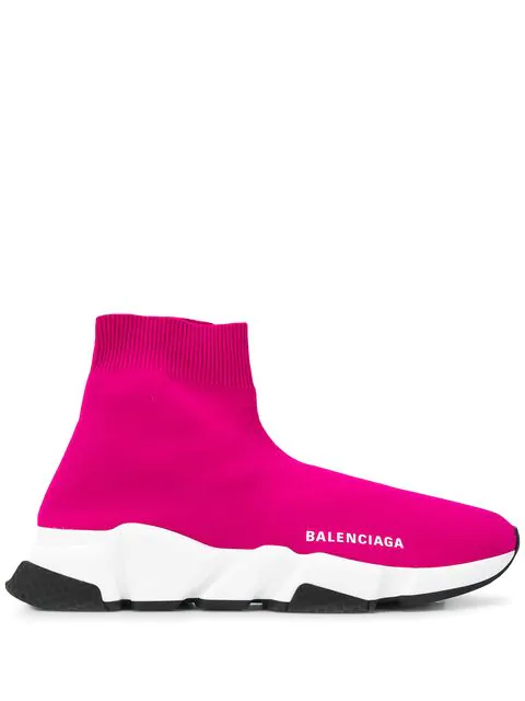 Balenciaga Speed Stretch-Knit High-Top Sneakers In 5620 Pink
