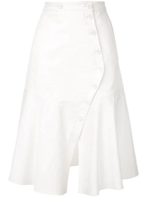 Tibi Dominic Twill Flare Midi Skirt In White