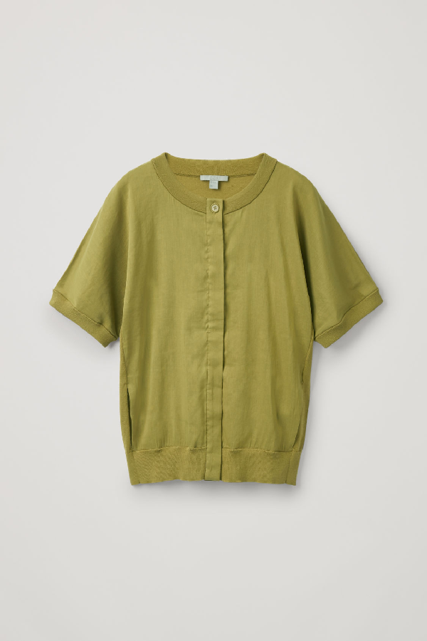 Cos Linen-Front Short-Sleeved Cardigan In Yellow