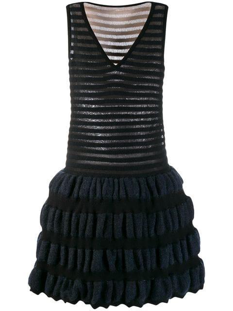Alaïa Knitted Circle Dress In Black