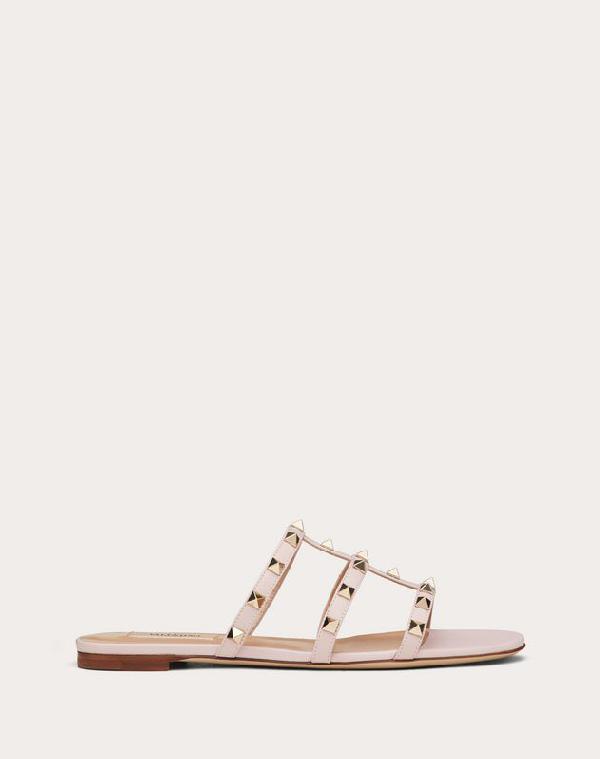 Valentino Rockstud Caged Flat Slide Sandals In Water Rose