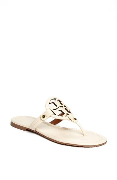 Tory Burch Women's Miller Square-toe Thong Sandals In Bleach