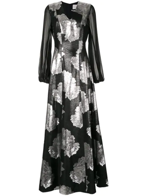 Ingie Paris Floral Jacquard Maxi Dress In Black