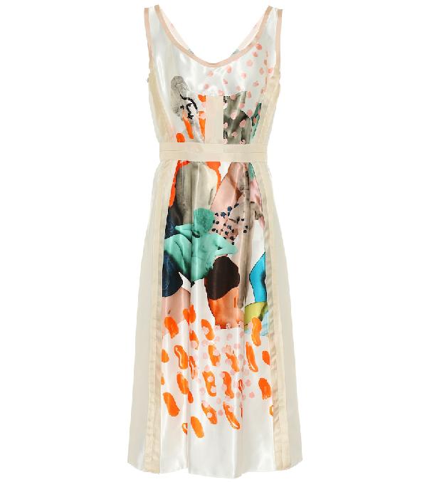 Marni Printed Satin Midi Dress In White